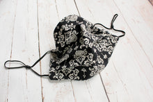Load image into Gallery viewer, Pleated Cotton Face Mask - Black and Oatmeal Damask - nose wire/filter pocket