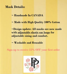 Two Sided Pleated Floral Face Mask - Bright Floral on Black*