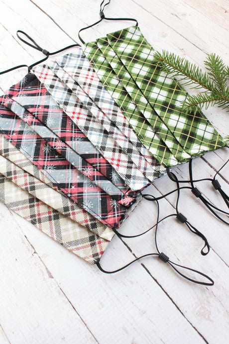 Pleated Cotton Face Mask - Plaids