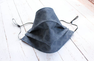 Pleated Cotton Face Mask - Navy Blue Diamonds