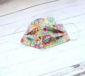 Two Sided Pleated Face Mask - TEAL Batik & Boho FLORAL