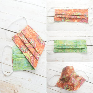 Two Sided Pleated Face Mask - GREEN Batik & Boho HEARTS
