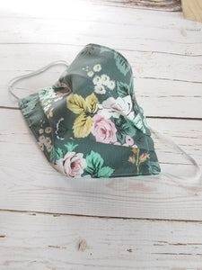 Pleated Cotton Face Mask - DEEP TEAL FLORAL*
