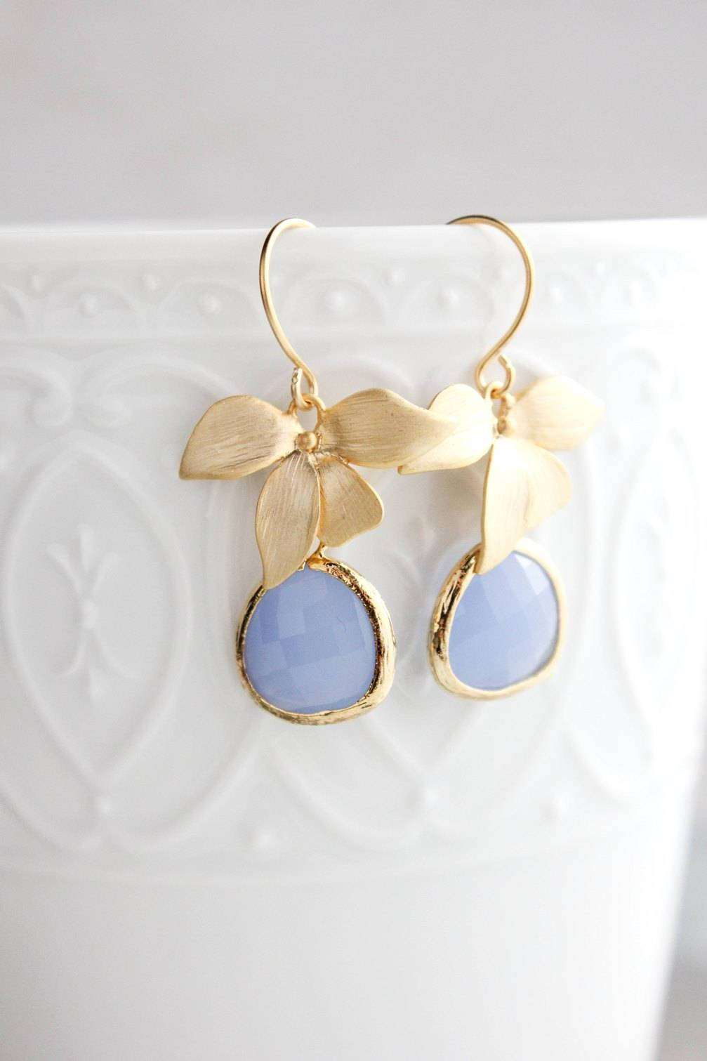 Gold Orchid Earrings - Periwinkle