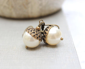 Pearl Acorn Earrings - Ivory Cream Pearl Drops
