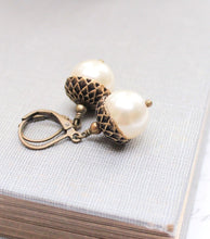 Load image into Gallery viewer, Pearl Acorn Earrings - Ivory Cream Pearl Drops