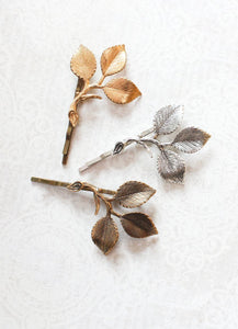 Three Leaf Branch Bobby Pin - Antiqued Brass