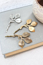 Load image into Gallery viewer, Three Leaf Branch Bobby Pin - Antiqued Brass