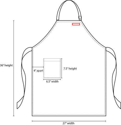 bib apron name embroidery placement