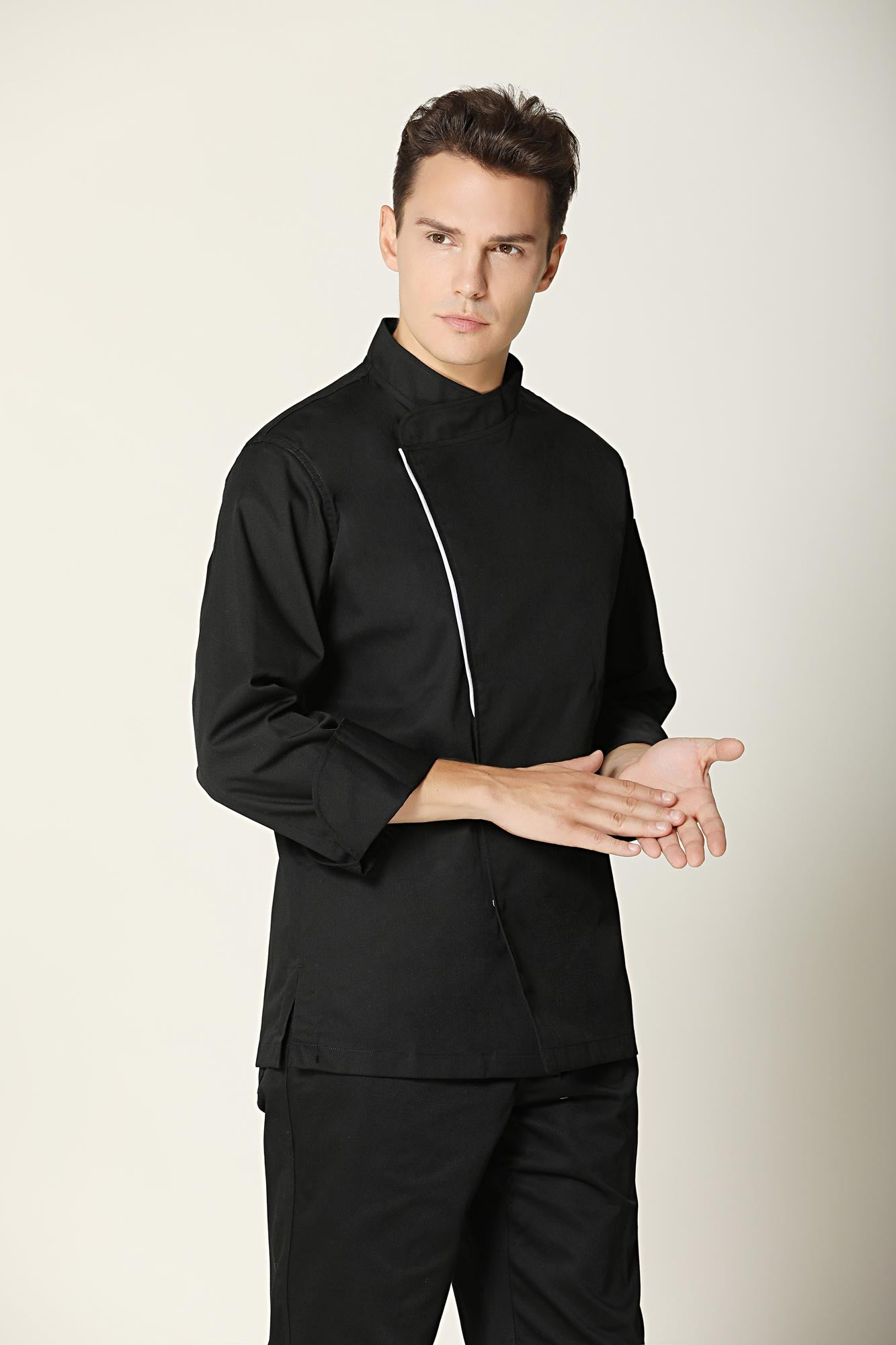 Basil Black Chef Jacket - Sleek and Minimal Style