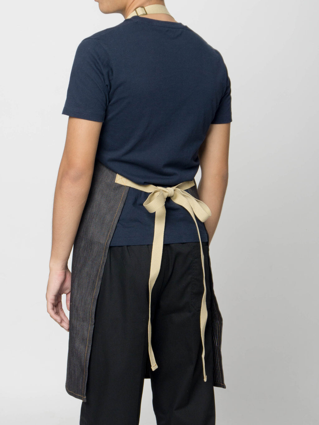 caleb denim bib apron back view