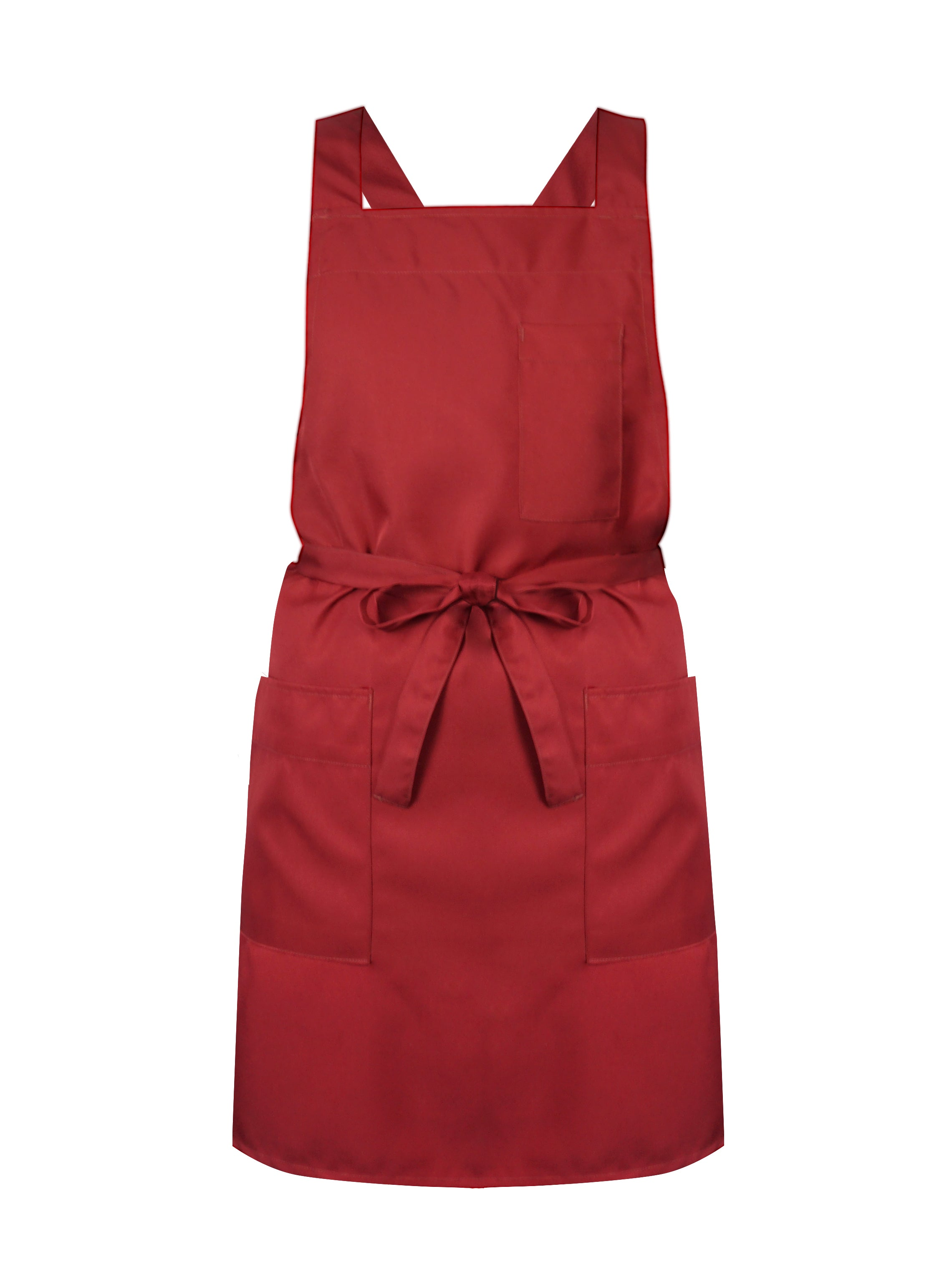 Red Maroon Bib Apron Crossed Back