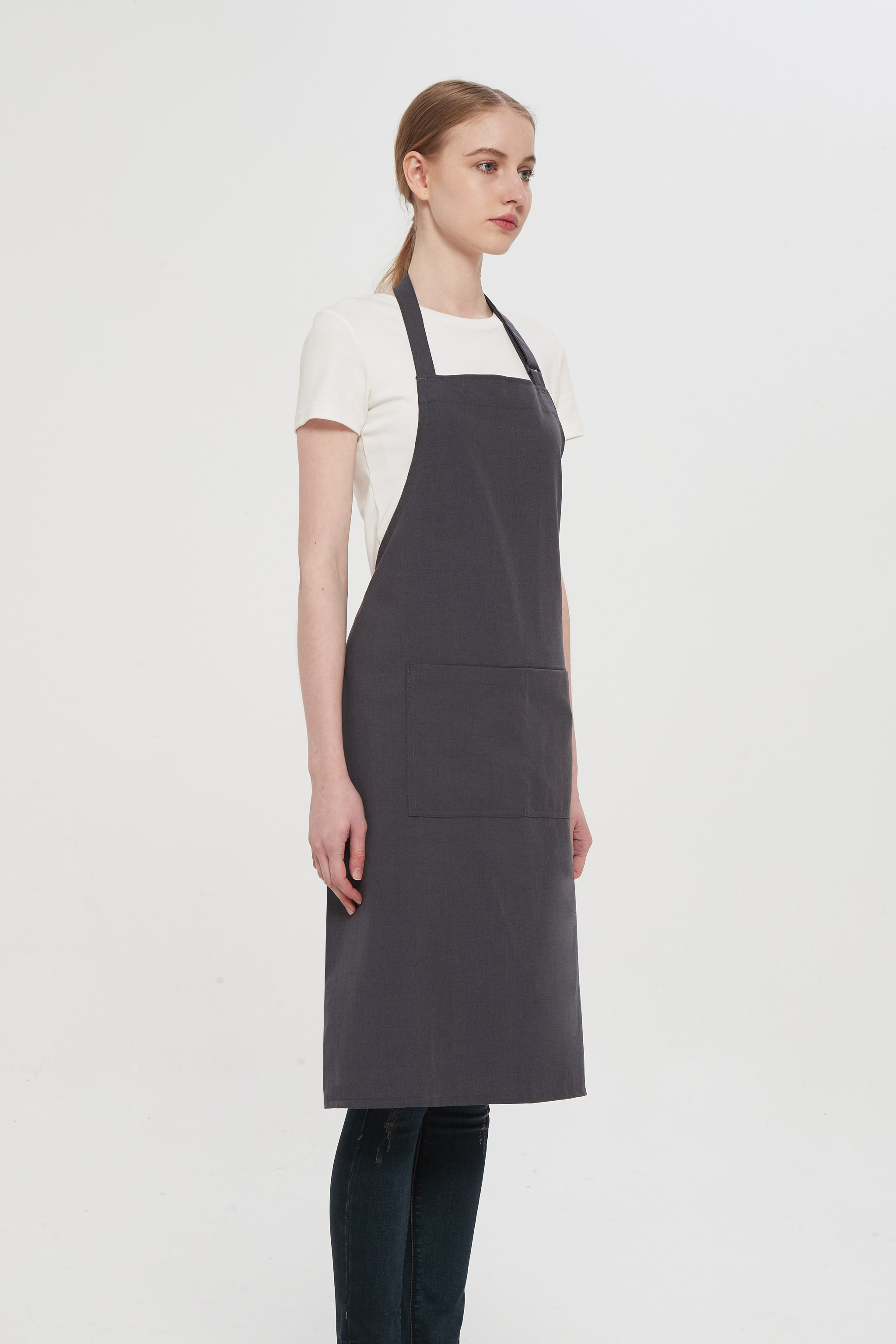 Grey Denim Bib Apron, Side View