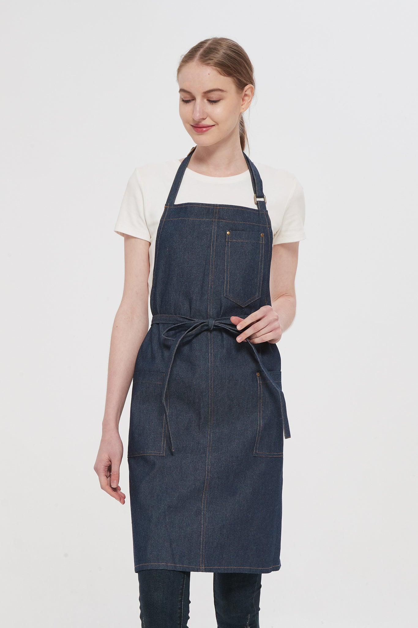 Blue Denim Bib Apron, Front View