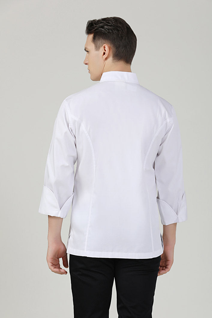 BClassic white long sleeve chef jacket back view