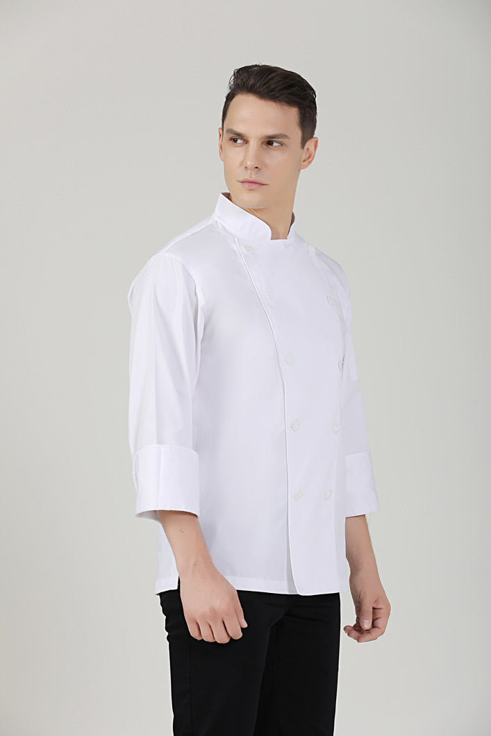 BClassic white long sleeve chef jacket side view