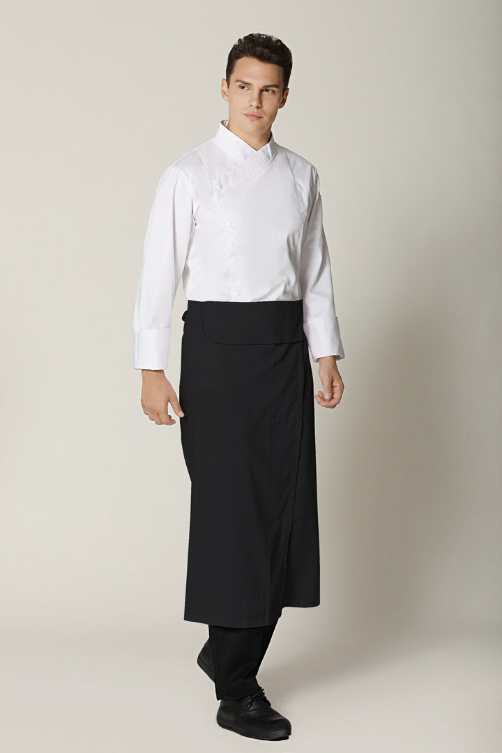 Black Flap Chef Apron w/ Slit