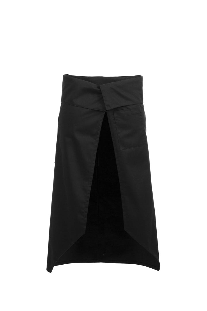 Black Angled Flap Apron Back View