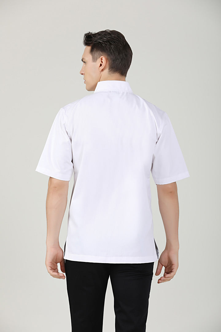 Meiji White Short Sleeve Back VIew
