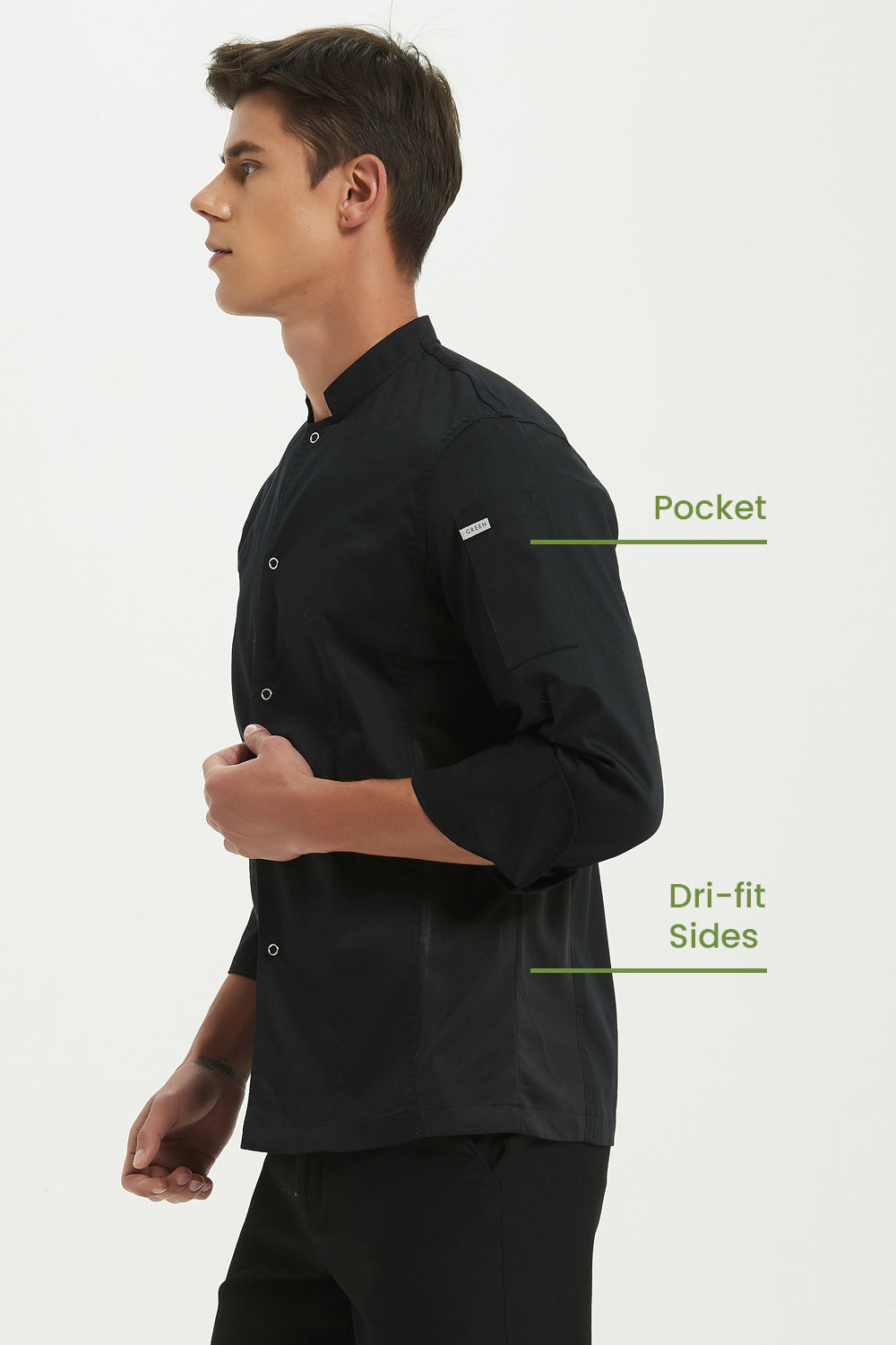 Mint Black Chef Jacket with Dri-fit, Side View
