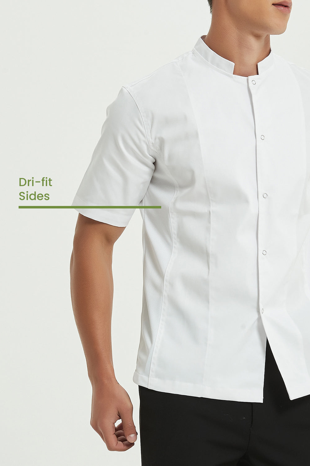 Mint White Chef Jacket with Dri-fit, Side View