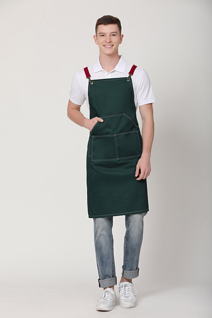 Xion Green Apron with Red Straps