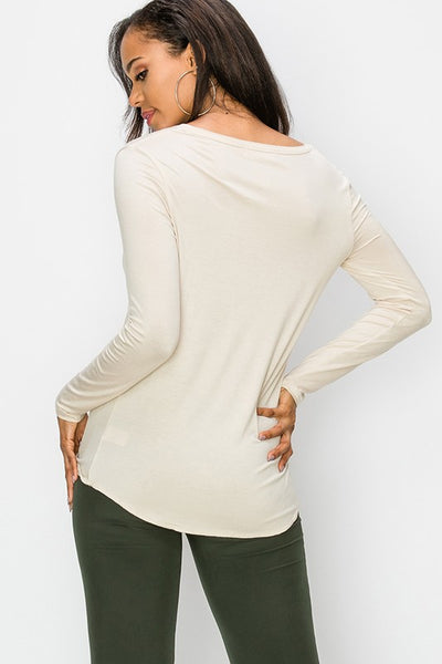 "HYFVE ""Bone"" Color V-Neck Long Sleeve Top"