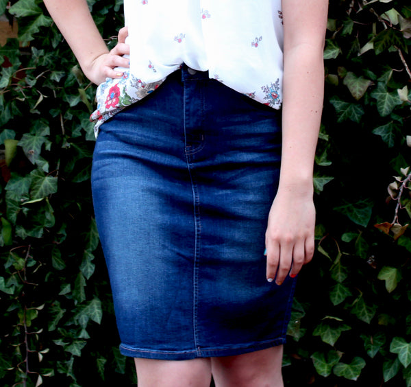 Denim 5 Pocket Button-Up Pencil Skirt