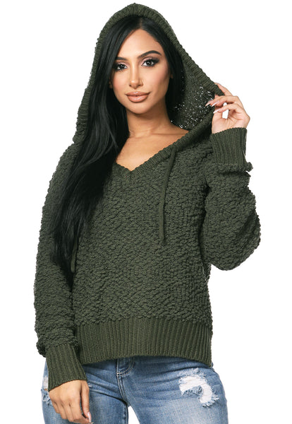 Hooded Popcorn Knit Sweater - Olive