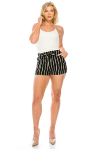 CI SONO Fashion Stripe Shorts, Black/Ivory