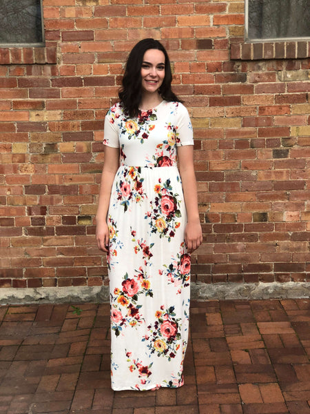 Floral Maxi Dress Short Sleeve