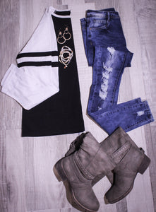 Low Rise Skinny Distressed Denim Jeans 2045