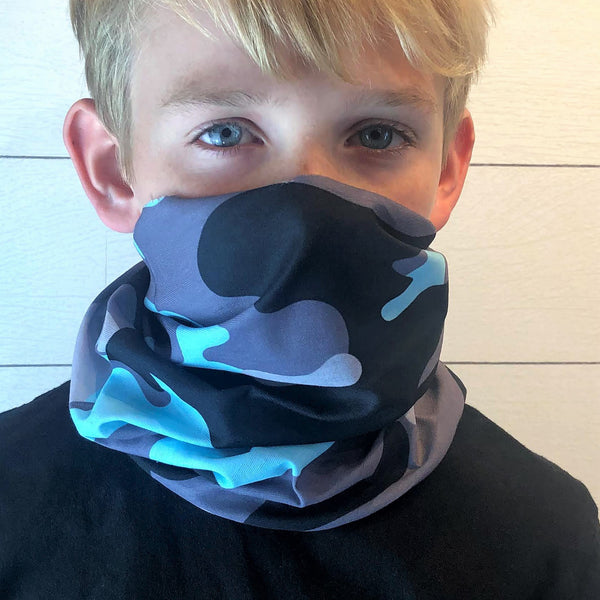 Blue Camo Face Mask, Neck Gaiter