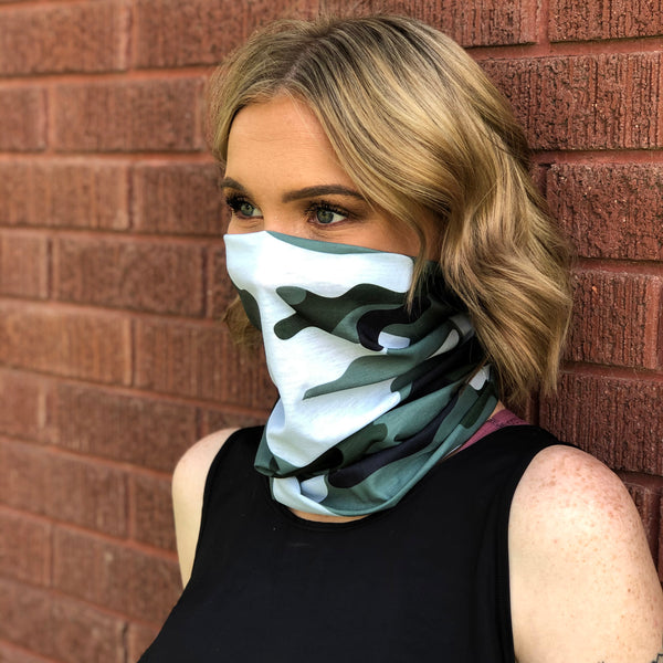 Green Camo Face Mask, Neck Gaiter