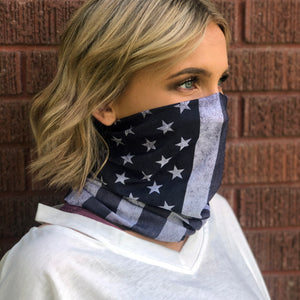 Black Out US Flag Face Mask, Neck Gaiter