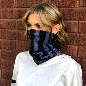 Blue Grey Distressed US Flag Face Mask, Neck Gaiter