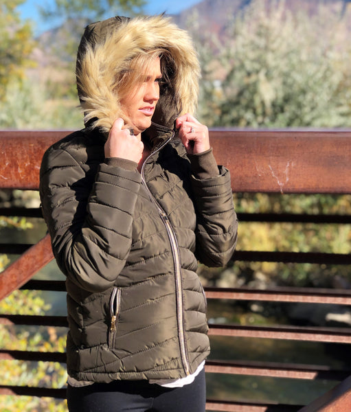 Parka Jacket with Faux Fur Hood