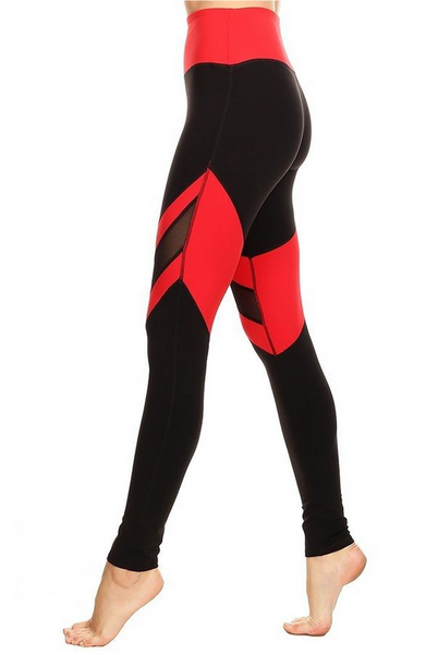 LA Society Black/Red Mesh Legging