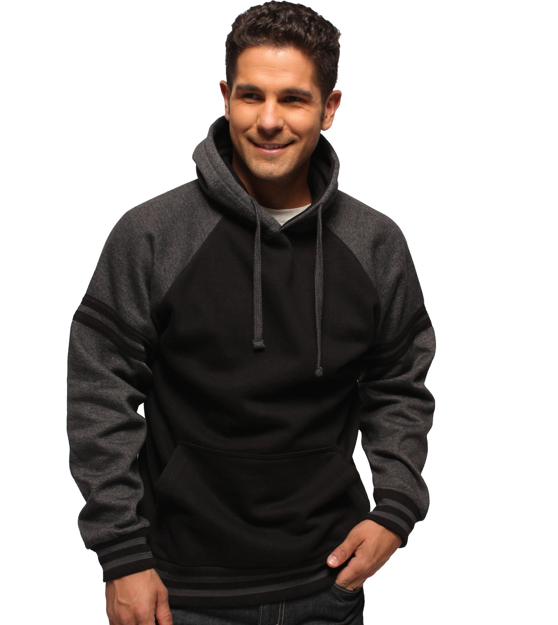 Adult Unisex Hoodie, w/Contrast Sleeve & Striped Cuff