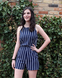 Short Stripe Romper, Black or NAVY Blue