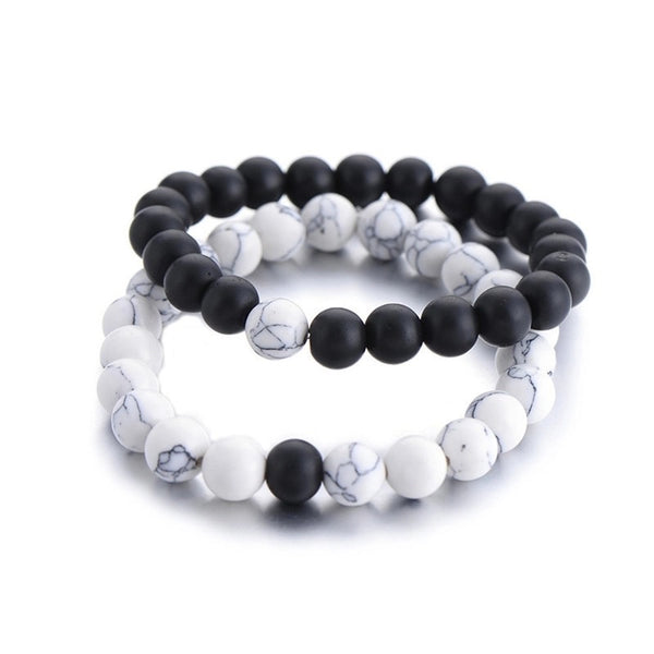 white & black couples distance meditation, promise bracelets
