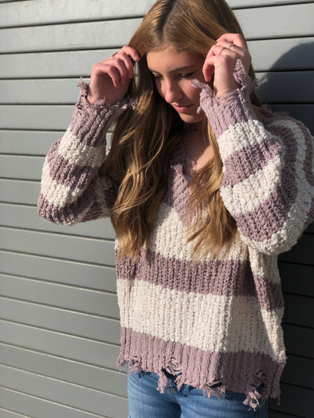Miracle Sweater Mauve/Ivory