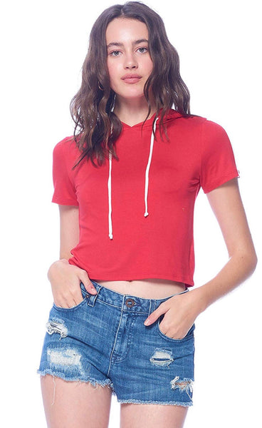 Cover Up Ambiance Crop Lightweight Hoodie Red