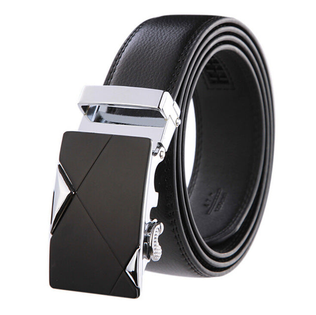 Genuine Leather Men's Belt w/Automatic Buckle