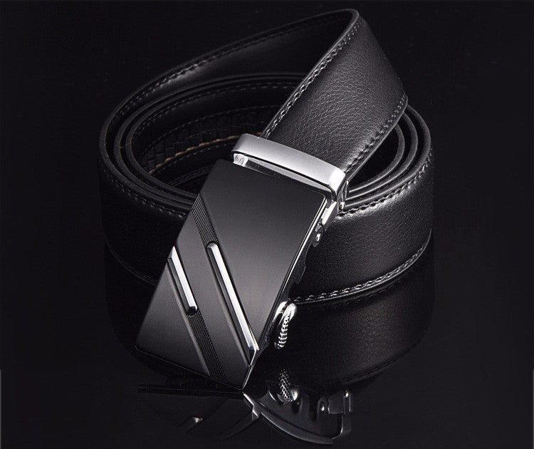 Genuine Leather Men's Belt with Automatic Buckle