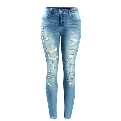 Mid-High Waist Ripped Skinny Denim Jeans 2074