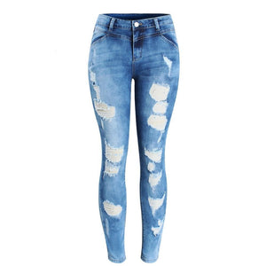 Mid-Waist Ripped Skinny Jeans (Plus Sizes) 2080