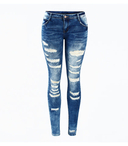 Youaxon Low-Rise Skinny Distressed Jeans