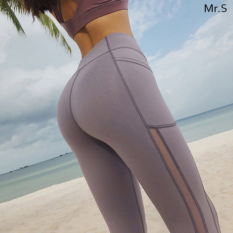 High Waist Yoga Pants - Light Purple
