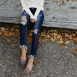 High Waist Skinny Distressed Jeans